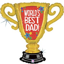 "Worlds Best Dad Trophy Supershape Balloon - 33"" Foil"