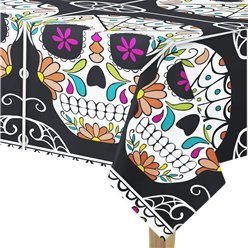 Skull Day of the Dead Plastic Tablecover - 2.13m x 1.37m