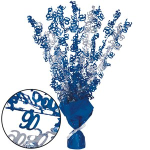90th Blue Foil Centrepiece - Table Decoration 43cm