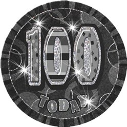 100th Birthday Badge - Black 6""
