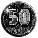 Black 50th Birthday Badge - 15cm