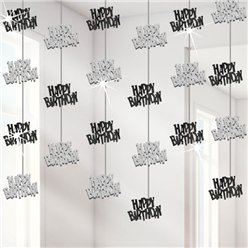 Happy Birthday Black Hanging Strings Decoration - 1.5m