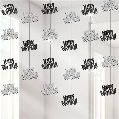 Happy Birthday Black Hanging String Decoration - 1.5m
