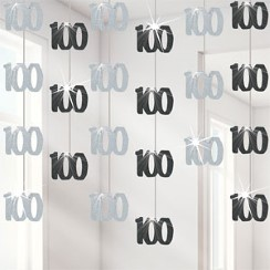 100th Birthday Black Hanging Decorations - 5ft Party Decorations