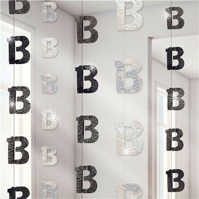13th Birthday Black Hanging String Decorations - 1.5m