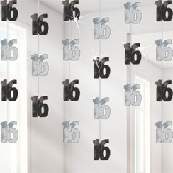 16th Birthday Black Hanging String Decorations - 1.5m
