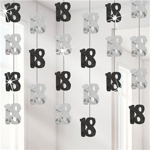 18th Birthday Black Hanging String Decorations - 1.5m
