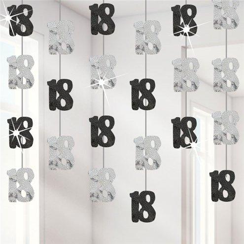 18th Birthday Black Hanging String Decorations