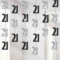 21st Birthday Black Hanging String Decorations