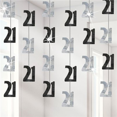 21st Birthday Black Hanging String Decorations