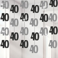 40th Birthday Black Hanging Decorations - 5ft Party Decorations