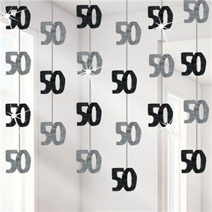 50th Birthday Black Hanging Decorations - 5ft Party Decorations