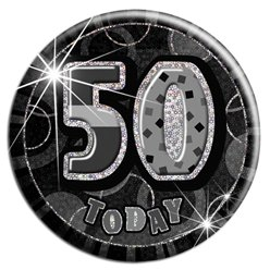 Large Black 50th Birthday Badge - 15cm