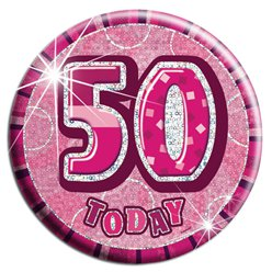 Pink 50th Birthday Badge - 15cm