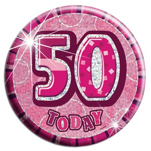Large Pink 50th Birthday Badge - 15cm