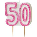 50th Birthday Candle - Pink