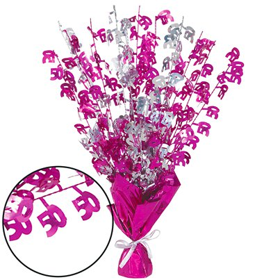 50th Pink Foil Centrepiece - Table Decoration 43cm