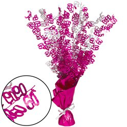 60th Pink Foil Centrepiece - Table Decoration 43cm