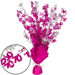 70th Birthday Pink Foil Spray Table Centrepiece - 43cm