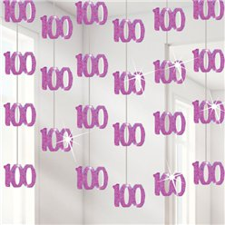 100th Birthday Pink Hanging Decorations - 1.52m Party Decorations