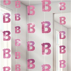 13th Birthday Pink Hanging String Decorations - 1.5m