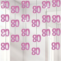 80th Birthday Pink Hanging Decorations - 1.52m Party Decorations