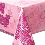 Happy Birthday Pink Plastic Tablecover - 137cm x 213cm