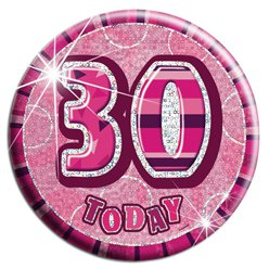 Large Pink 30th Birthday Badge - 15cm