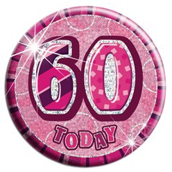 Large Pink '60 Today' Big Birthday Badge - 15.5cm