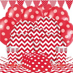 Red Chevrons Party Pack - Deluxe Pack for 8