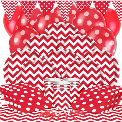 Red Chevrons Party Pack - Deluxe Pack for 16