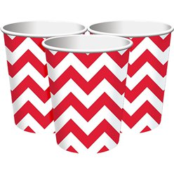 Apple Red Chevron Party Cups - 256ml Paper