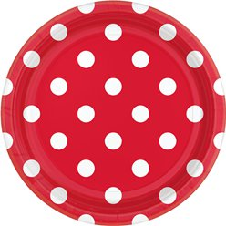 Red Polka Dot Dessert Plates - 18cm Paper Party Plates