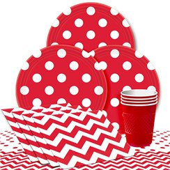 Red Dots Party Pack - Value Pack For 8