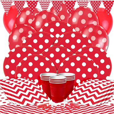 Red Dots Party Pack - Deluxe Pack for 16
