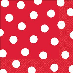 Apple Red Polka Dot Napkins - 33cm