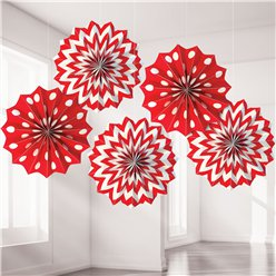 Apple Red Polka Dot & Chevron Paper Fan Decorations - 20cm