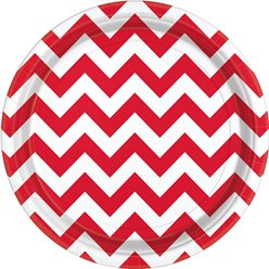 Red Chevron Plates - 23cm Paper Party Plates