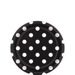 Black Polka Dot Dessert Plates - 18cm Paper Party Plates