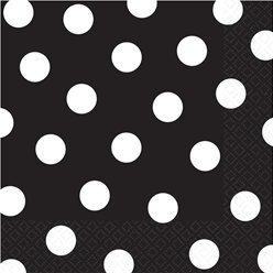 Black Polka Dot Napkins - 33cm