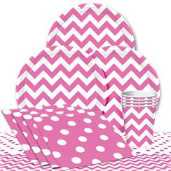 Hot Pink Chevrons Party Pack - Value Pack For 8