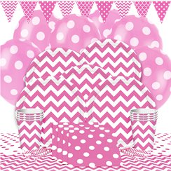 Hot Pink Chevrons Party Pack - Deluxe Pack for 8