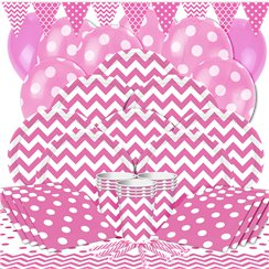 Hot Pink Chevrons Party Pack - Deluxe Pack for 16