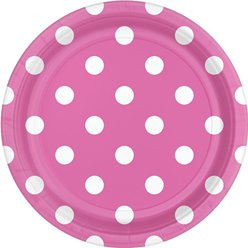 Hot Pink Polka Dot Dessert Plates - 18cm Paper Party Plates