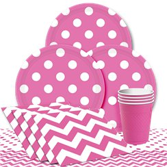 Hot Pink Dots Party Pack - Value Pack For 8