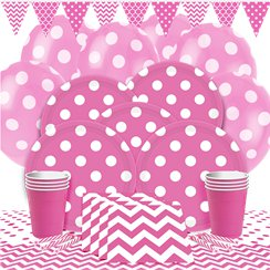 Hot Pink Dots Party Pack - Deluxe Pack for 8