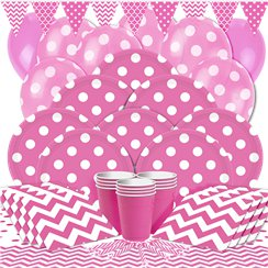 Hot Pink Dots Party Pack - Deluxe Pack for 16
