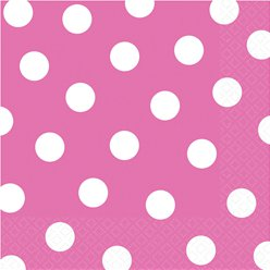 Hot Pink Polka Dot Napkins - 33cm