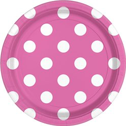 Hot Pink Polka Dot Plates - 23cm Paper Party Plates