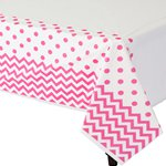 Hot Pink Polka Dot & Chevron Plastic Tablecover - 1.4m x 2.6m